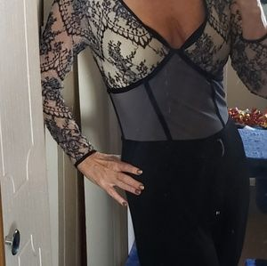 Black and lace jumpsuit.